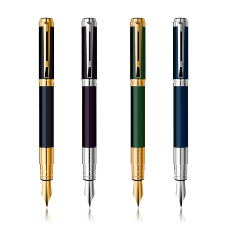 fountain:  Classic Pen Set with reflection  Gold and silver