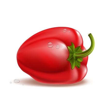 Beautiful  Pepper with drops Isolated on white Stock Vector - 15158913