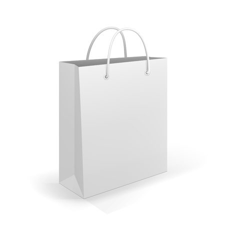 Empty Shopping Bag on white for advertising and branding Vector
