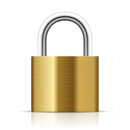 closeup: Realistic Padlock Illustration  Closed  lock security icon isolated on white