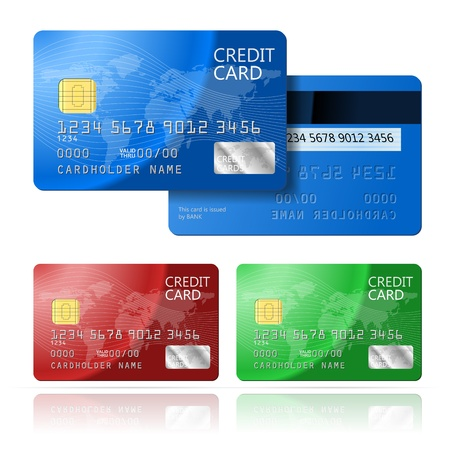 credit card purchase: Realistic vector Credit Card two sides, blue, green, red