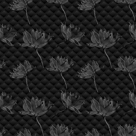 Floral background  Graphic flowers on black Stock Vector - 15224976