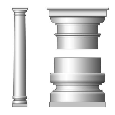 doric: Classic Ancient Column. Vector illustration on white Illustration
