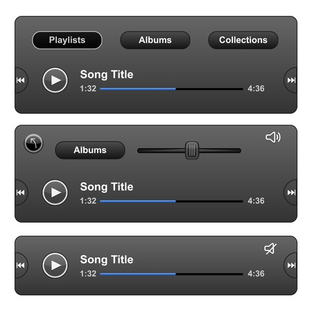 audio player: Audio Player Skin with play button. Vector illustration