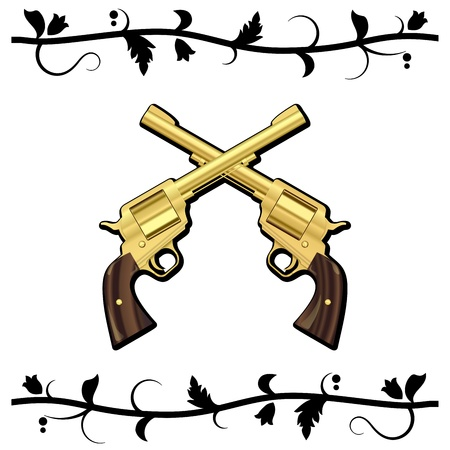 Gold Crossed Guns isolated on white background. Vector illustration Vector