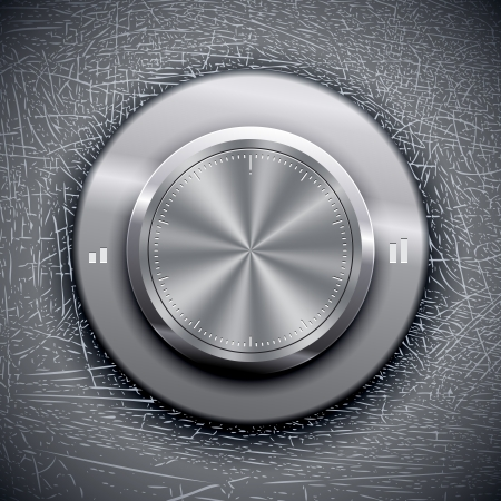 switch: Volume Knob on Grunge background. Vector illustration