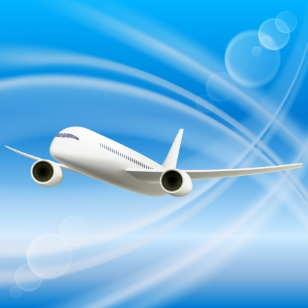 takeoff: White Airplane in sky  Cool Vector illustration
