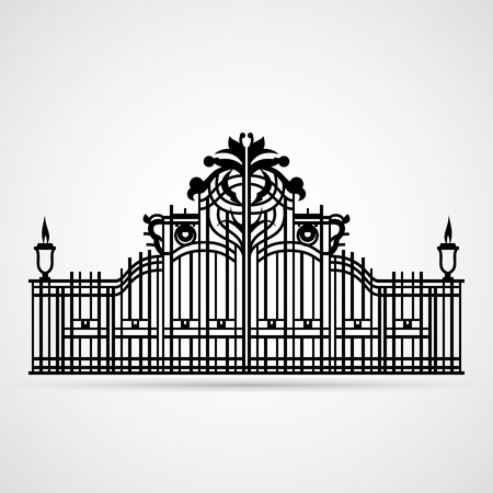 rejas de hierro: Puerta gráfica ornamental en blanco Ilustración vectorial