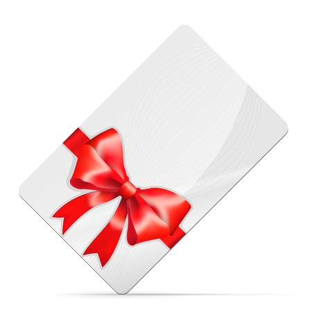 Gift card with red bow Isolated on white  illustration Stock Vector - 15333903