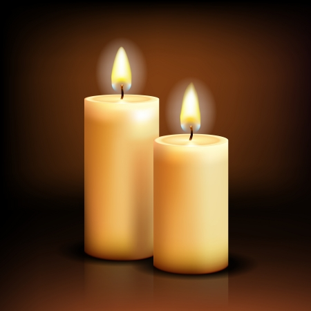Beautiful Isolated realistic candles at dark   illustration Vector