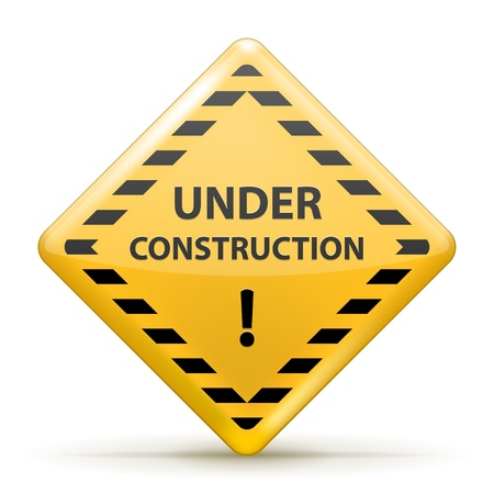 recondition: Isolated Under Construction Sign, Yellow and Black illustration Illustration