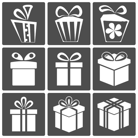 Gift box icon set different styles  Vector illustration Stock Vector - 15375204