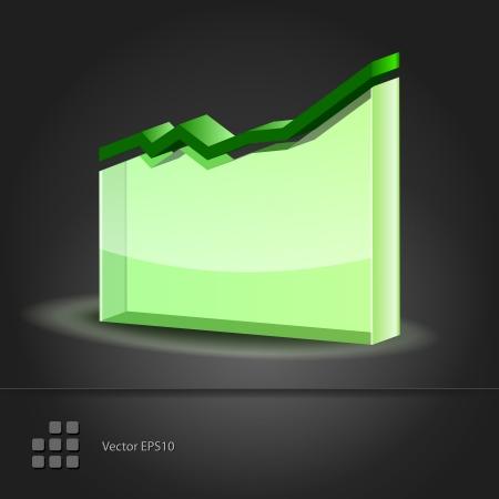 directive: Crystal glass diagram  Graph Line Chart icon  Vector illustration Illustration