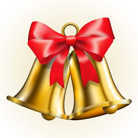 jingle: Golden bells with red bow  Vector illustration Illustration