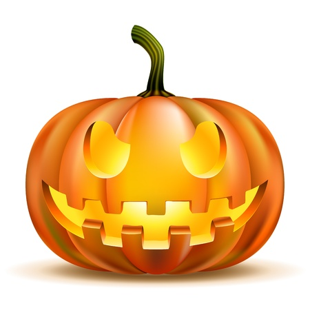 Halloween Pumpkin isolated on white  Scary Jack   Illustration