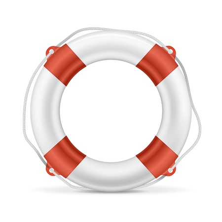 White lifebuoy with red stripes and rope  Isolated