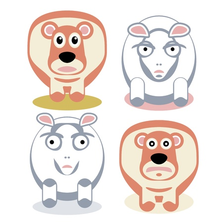 Scared and angry sheeps  Pets on white  Stock Vector - 15542396
