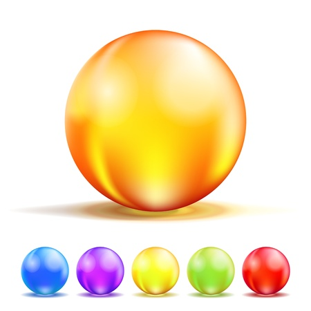 crystal clear: Colorful Color Glass Balls isolated on white  Vector illustration Illustration