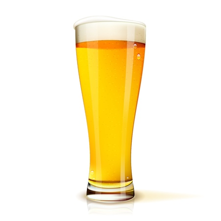 beer drinking: Realistic Isolated glass of beer with drops  Vector illustration