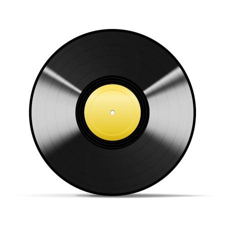 gold record: Wonderful Black Vinyl isolated on white Illustration