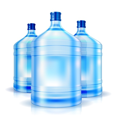 water cooler: Three cooler isolated bottles of water  illustration Illustration