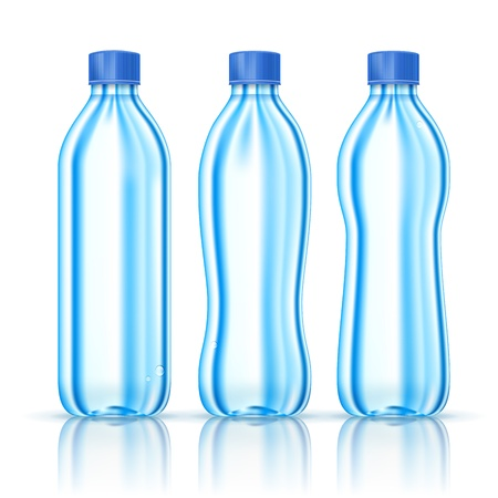 Water bottles various forms isolated on white  Illustration Vector