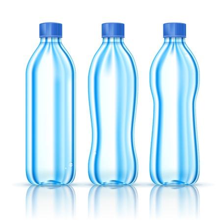 soda bottle: Water bottles various forms isolated on white  Illustration