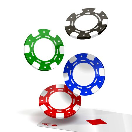 grren: Falling Poker Chips isolated on white  Illustration Illustration