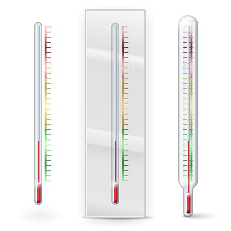 clinical thermometer: Thermometer with scale divisions isolated on white Illustration