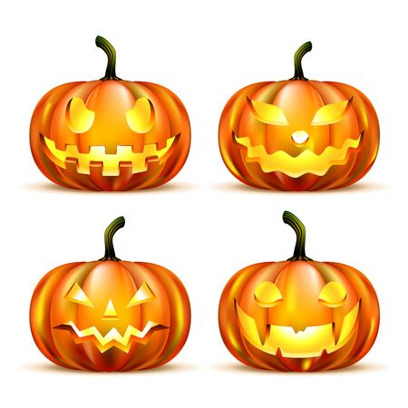 citrouille halloween: Jack Lanterne citrouilles isolé sur blanc