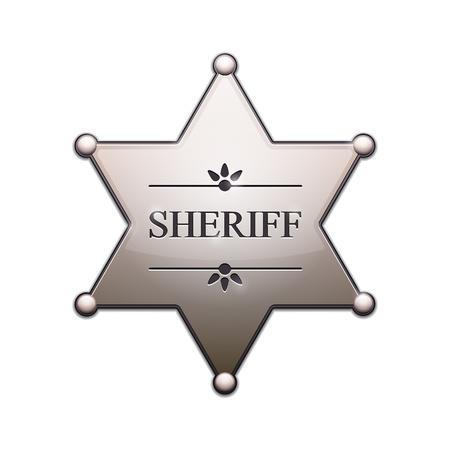 sheriff badge: Sheriff Star con sombra aislado en blanco Ilustraci�n vectorial Vectores
