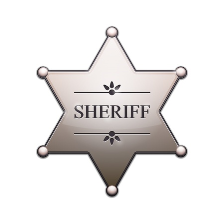 sheriff badge: Sheriff Star with shadow isolated on white  Vector Illustration