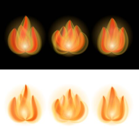 Fire Flames isolated on whiteand black. Illustration Stock Vector - 15860731