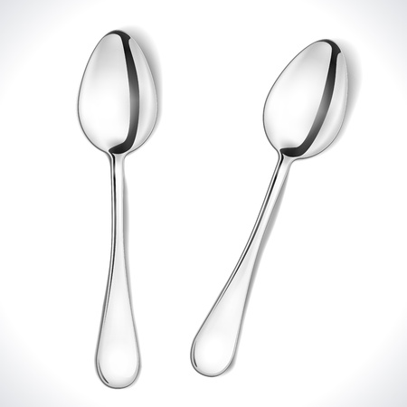Realistic Steel Spoon isolated on white. Illustration Stock Vector - 15860729
