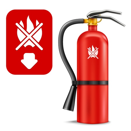 fire hazard: Fire Extinguisher and Sign isolated on white. Illustration Illustration