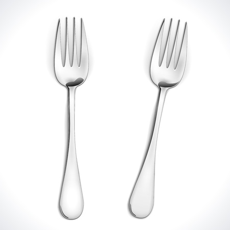 Realistic Steel Fork isolated on white  Vector Illustration Stock Vector - 15912321