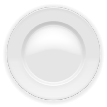 dieting: Realistic white Plate isolated on white  Vector Illustration