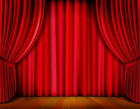 stage performance: Realistic red curtain on wooden stage  Vector Illustration