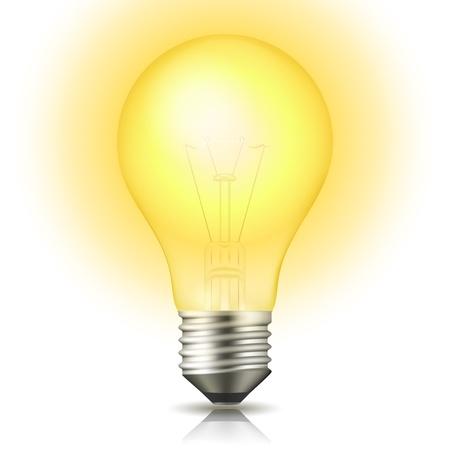 lightbulb idea: Realistica lampadina accesa luce isolato su bianco illustrazione vettoriale Vettoriali