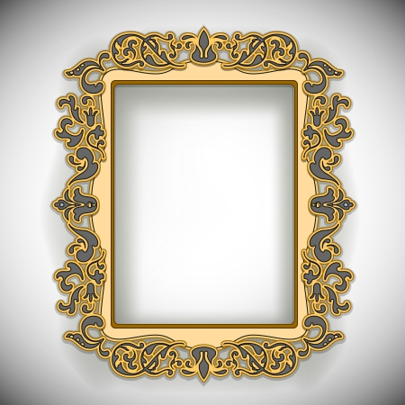 gold picture frame: Carved Wooden Frame isolated on white  Illustration Illustration