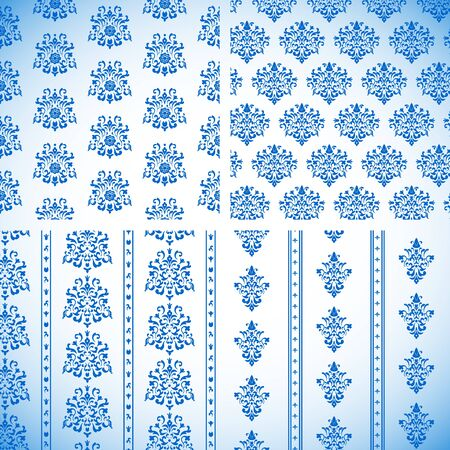 Blue Ornament seamless Patterns isolated on white  Illustration Stock Vector - 16002261