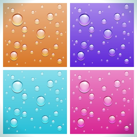 Transparent water drops on colored backgrounds  Illustration Stock Vector - 16002264