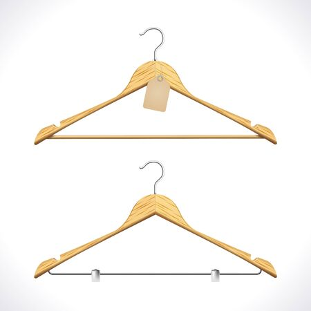 Realistic Clothes Hangers with Tag isolated on white  Illustration Stock Vector - 16002287