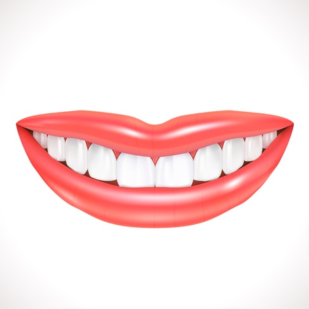 Realistic Smile isolated on white  Illustration Vector
