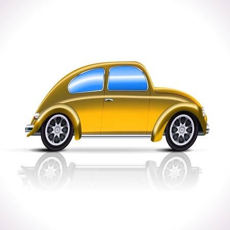 Vintage yellow Car isolated on white  Illustration Stock Vector - 16002290