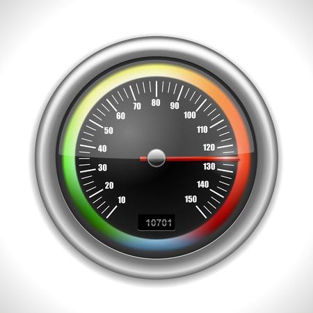 miles: Shiny Speedometer isolated on white  Illustration