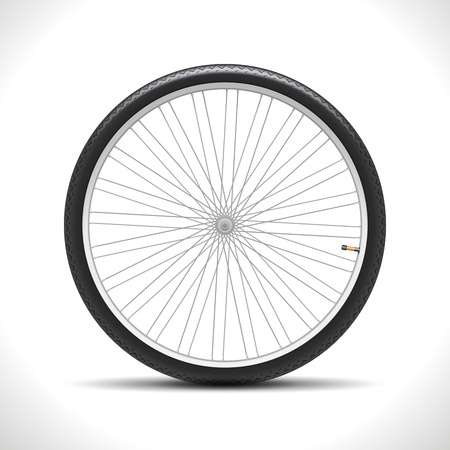 Bicycle Wheel isolated on white  Illustration Vector
