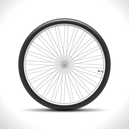 Rueda de bicicleta aislada en blanco Ilustración