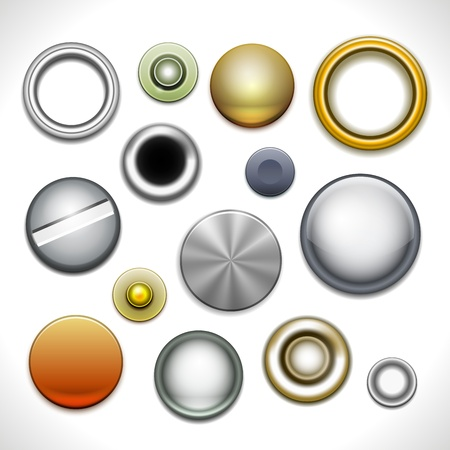 rivet: Metal buttons and rivets isolated on white  Illustration