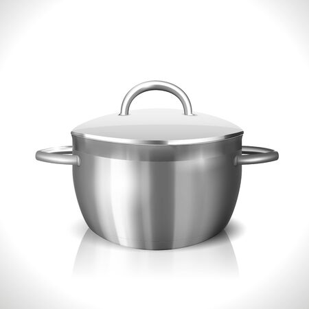 soup pot: Steel Pan isolated on white  Illustration